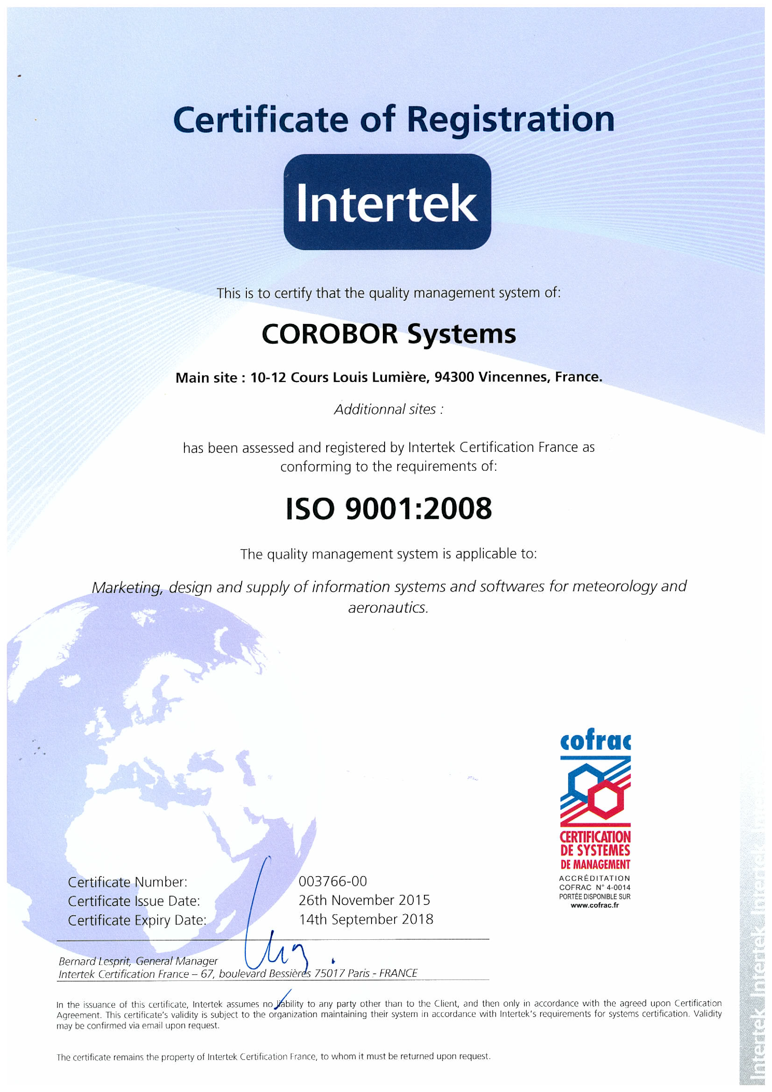 Iso 90012008 Certification Corobor Systems